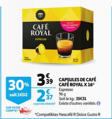 prix des capsules de café